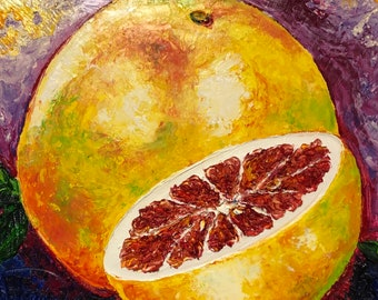 Grapefruit 12 by 12 by 1 1/2 Inch Original Impasto Oil Painting by Paris Wyatt Llanso