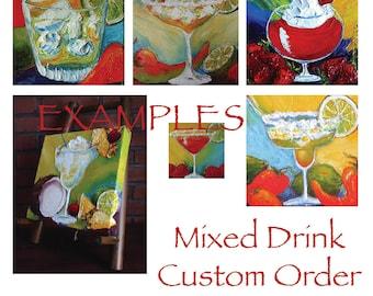 Custom Order for 10x10 Mixed Drink Original Impasto Oil Painting by Paris Wyatt Llanso