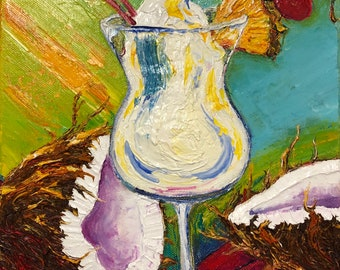 Pina Colada 10 by 10 by 1 1/2 Fine Art Impasto Oil Painting by Paris Wyatt Llanso