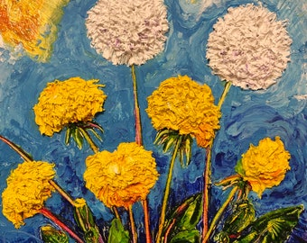 Dandelions 10 by 10 by 3 inches Original Impasto Oil Painting by Paris Wyatt Llanso