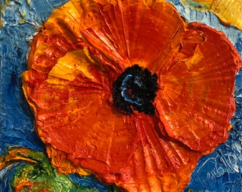 Red Poppy 8x8 Original Impasto Oil Painting by Paris Wyatt Llanso