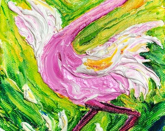 Dancing Flamingo 5 by 7 by1 1/2  Inch Original Oil Painting by Paris Wyatt Llanso FREE SHIPPING