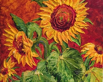 Sunflowers on Deep Gold 20x20Inch Original Impasto Oil Painting by Paris Wyatt Llanso
