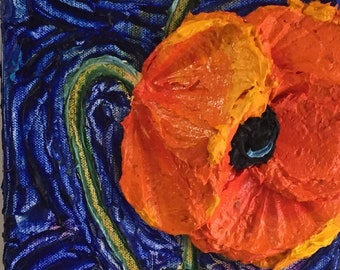 Poppies on blue 6 by 18 inchs Original Impasto Oil Painting by Paris Wyatt Llanso