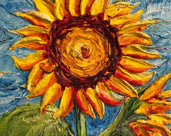 Sunflowers 12x12 inch  Original Impasto Oil Painting by Paris Wyatt Llanso