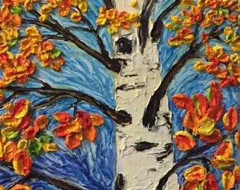 Rainbow Tree 12 by 36  inch  Original Impasto Oil Painting by Paris Wyatt Llanso