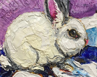 Snow Bunny 4 by 4 Inch Original Oil Painting by Paris Wyatt Llanso FREE SHIPPING
