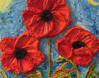 Red Poppies 10 by 10 by 3 inches Original Impasto Oil Painting by Paris Wyatt Llanso