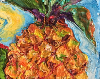 Tropical Pineapple 5 by 7 inches Original Impasto Oil Painting by Paris Wyatt Llanso