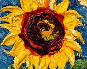 Paris' Sunflower 6x6 Fine Art Impasto Oil Painting by Paris Wyatt Llanso