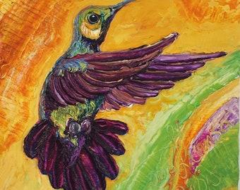 Hummingbird 10x10 Inch Original Oil Painting by Paris Wyatt Llanso FREE SHIPPING