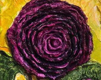Purple Ranunculus 5x5 Original Impasto Oil Painting by Paris Wyatt Llanso