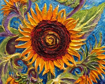 Sunflowers  24 by 24 inch  Original Impasto Oil Painting by Paris Wyatt Llanso