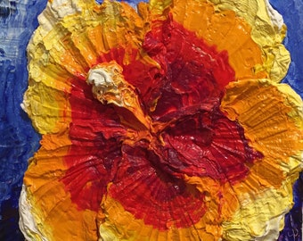Hibiscus 10 by 10 by 3 inches Original Impasto Oil Painting by Paris Wyatt Llanso