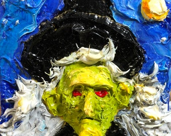 Witch  2 by 2 inch Original Impasto Oil Painting by Paris Wyatt Llanso