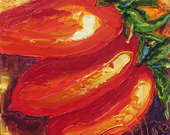 Roma Tomatoes 6 by 6 Original Palette Knife Impasto Oil Painting