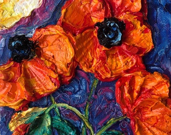 Red Poppies 6 by 6 by 1 1/2 inches  Oiriginal Impasto Oil Painting by Paris Wyatt Llanso