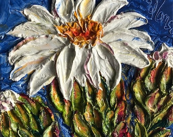 Saguaro Cactus Flower 6x6 Inch deep Original Impasto Oil Painting by Paris Wyatt Llanso
