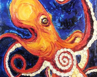 Octopus 9 by 12 Inch Original Impasto Oil Painting by Paris Wyatt Llanso