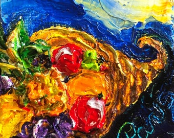 Cornucopia  2x2 Original Impasto Oil Painting by Paris Wyatt Llanso