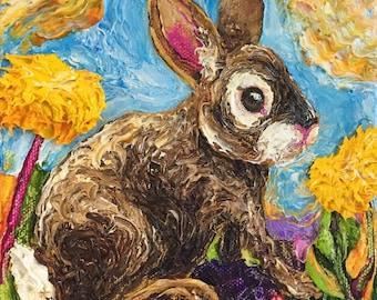 Dandelion Wild Bunny 6x6 Inch Original Oil Painting by Paris Wyatt Llanso FREE SHIPPING
