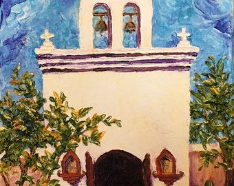 San Xavier Del Bac 12x24 1 3/4 Inch Original Impasto Oil Painting by Paris Wyatt Llanso