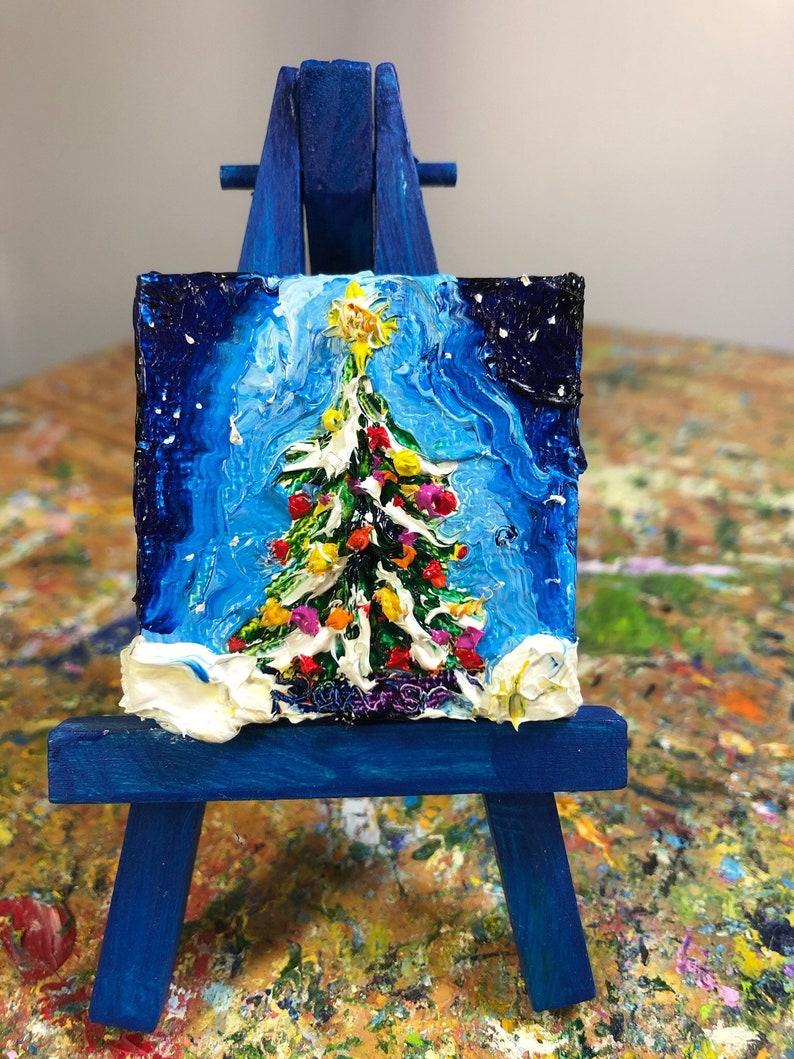 Christmas Tree 2x2 Original Impasto Oil Painting by Paris Wyatt Llanso