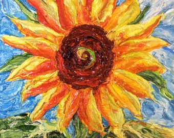 Sunflower on Blue 8 by 8 by 3 inches Original Impasto Oil Painting by Paris Wyatt Llanso