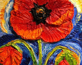 Deep Red Poppy 18 by 24 by 3 inches Original Impasto Oil Painting by Paris Wyatt Llanso