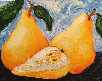 Golden Pears 11x14 Inch Original Impasto Oil Painting by Paris Wyatt Llanso