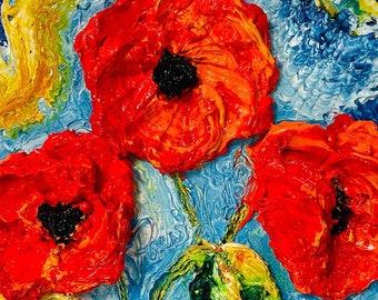 Red Poppies 6x6 Inch deep Original Impasto Oil Painting by Paris Wyatt Llanso
