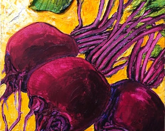 Red Beets 12x16 Inch Original Impasto Oil Painting by Paris Wyatt Llanso