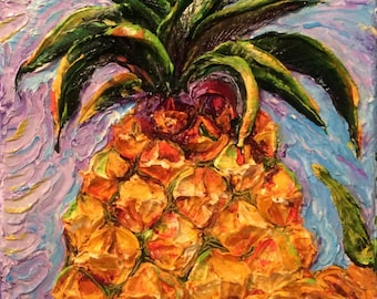 Large Pineapple 12 by 24 by 1 1/2 Inch Original Impasto Oil Painting by Paris Wyatt Llanso