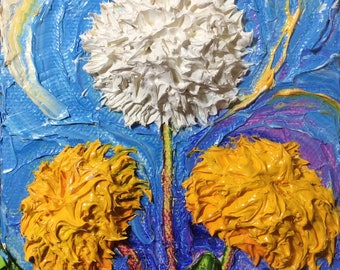 Dandelion 4 by4 by 1 1/2 Inch deep Original Impasto Oil Painting by Paris Wyatt Llanso