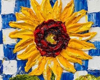 Sunflower on Blue Checkered Board 8x8 x 1 1/2 Original Impasto Oil Painting by Paris Wyatt Llanso