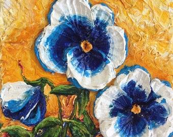 Blue Pansies 8x8 Inch Original Fine Art Oil Painting by Paris Wyatt Llanso