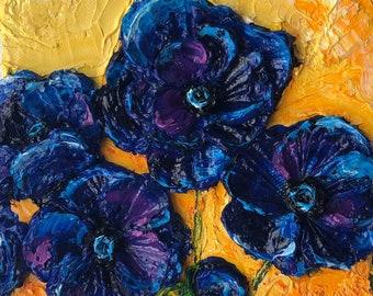 Blue Anemone's 6 by 6 Original Impasto Oil Painting by Paris Wyatt Llanso