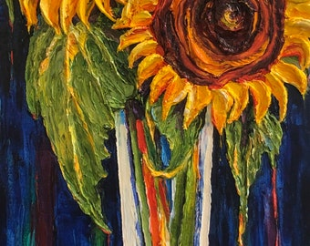 Sunflowers in Tall Glass Vase 16 x 40 by 1 1/2 inch  Original Impasto Oil Painting by Paris Wyatt Llanso Free Shipping in USA