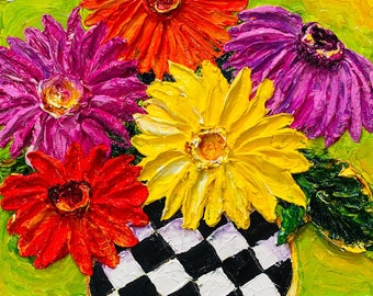 Gerber Daisies in Checkered  Vase 9 by 10 by 1 1/2 inches Original Impasto Oil Painting by Paris Wyatt Llanso