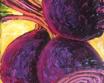 Red Beets 8x16 Inch Original Impasto Oil Painting by Paris Wyatt Llanso