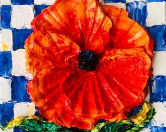 Red Poppy on Blue Checkered Board 8x8 x 1 1/2 Original Impasto Oil Painting by Paris Wyatt Llanso