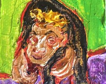 Egor Hunchback Halloween mini 2x2 Original Impasto Oil Painting by Paris Wyatt Llanso