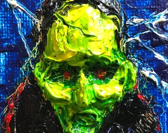 Frankenstein Halloween mini 2x2 Original Impasto Oil Painting by Paris Wyatt Llanso