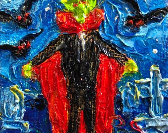 Count Dracula Halloween mini 2x2 Original Impasto Oil Painting by Paris Wyatt Llanso