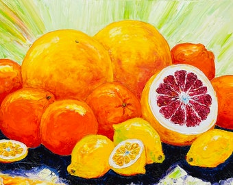 Citrus Splash 18 by 24 by 1 1/2 Inches deep Original Impasto Oil Painting by Paris Wyatt Llanso, FREE SHIPPING in USA