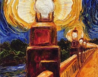 Burnng Bridge Lights 9 by 12 by 1 3/4 Inch Original Impasto Oil Painting by Paris Wyatt Llanso