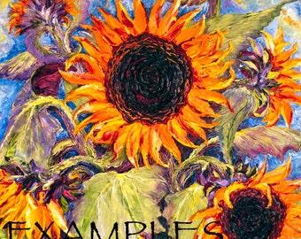 Custom Order for 20x20 Original Sunflower Impasto Oil Painting by Paris Wyatt Llanso
