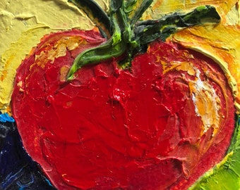 Ripe Tomato 2x2 Original Impasto Oil Painting by Paris Wyatt Llanso