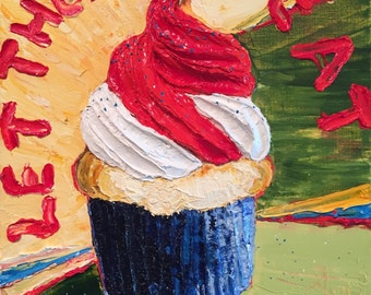 Cupcake 12x12x3  Inch Original Impasto Oil Painting by Paris Wyatt Llanso