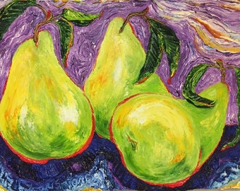 Three Juicy Pears 18 by 24 Inch Original Oil Painting by Paris Wyatt Llanso FREE SHIPPING